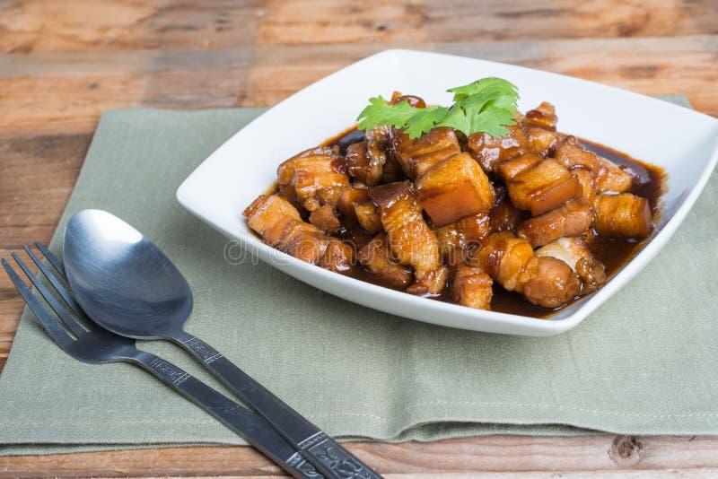 Condimento dulce del cerdo (el nombre tailandés es el muu waan) fotografía de archivo