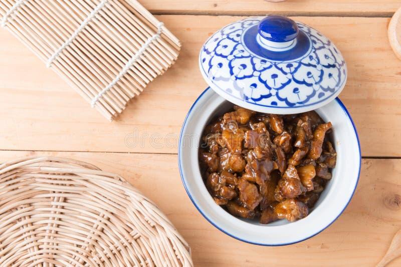 Condimento dulce del cerdo (el nombre tailandés es el muu waan) fotos de archivo