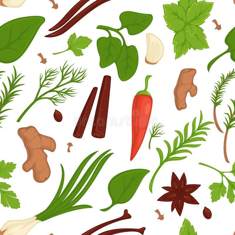 Condimentos orgânicos e temperos do teste padrão sem emenda das ervas e das especiarias ilustração stock