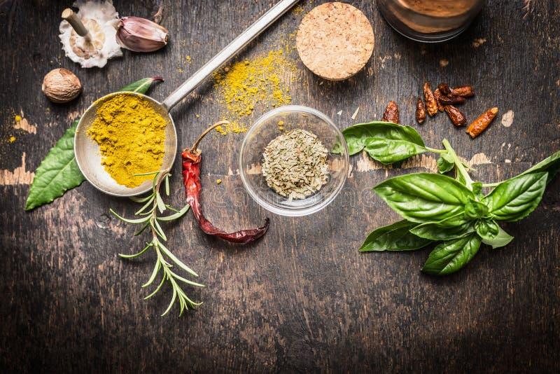 Condimentos y especias para cocinar creativo en el fondo de madera rústico oscuro, visión superior imagen de archivo libre de regalías