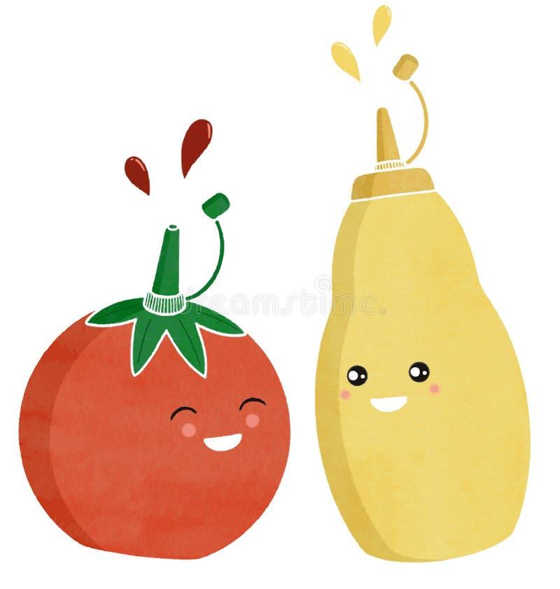 Condiments de ketchup et de moutarde images libres de droits
