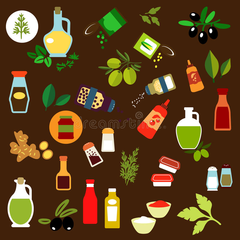 Condiments, pikantność, ziele i nafciane płaskie ikony, royalty ilustracja