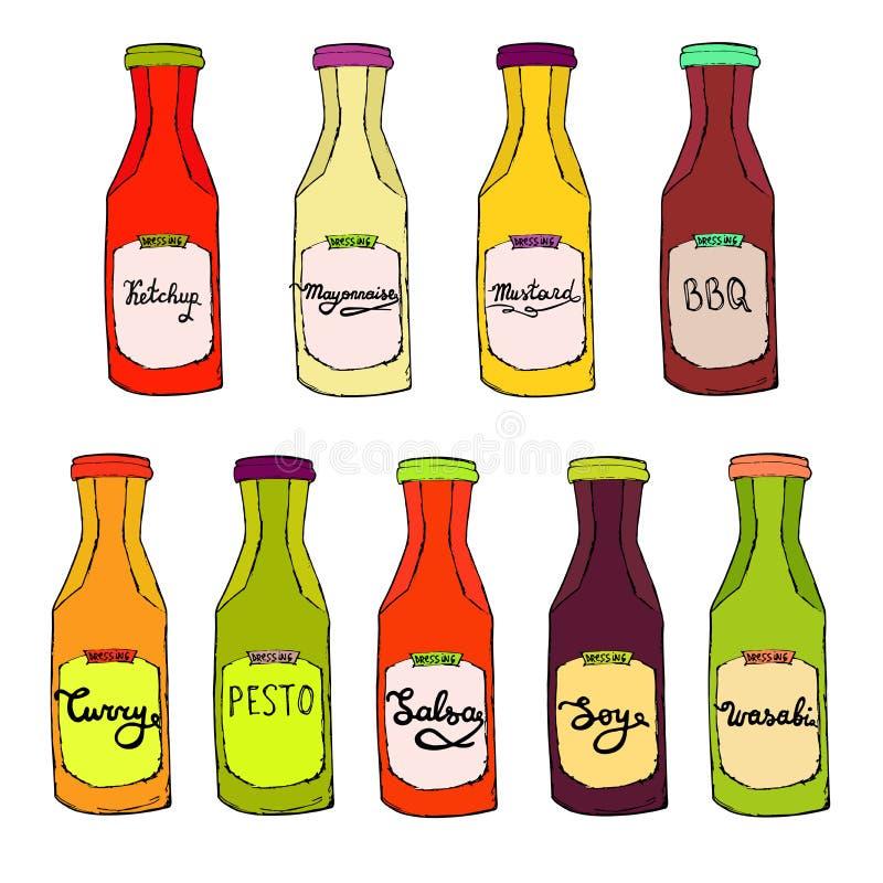 Condiments set. Ketchup bottle, Mayonnaise jar, BBQ, Curry, Salsa, Pesto, stock illustration