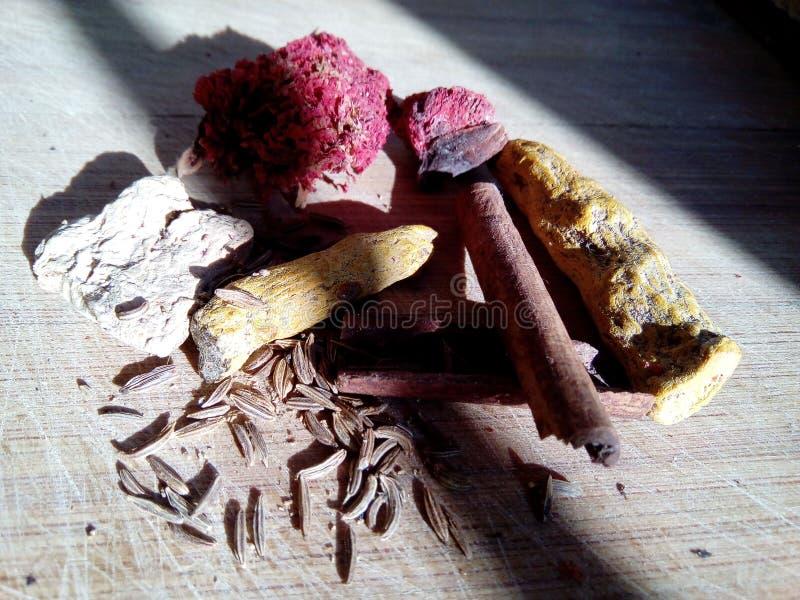 Condiments sur une planche à découper de cuisine image stock