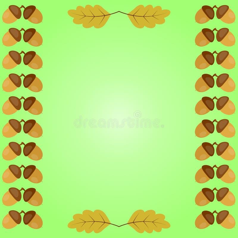Condisca il fondo d'annata di autunno, la ghianda e le foglie della quercia royalty illustrazione gratis