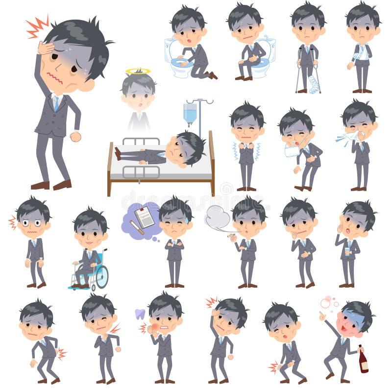Condition_sickness di Gray Suit Businessman Bad illustrazione di stock