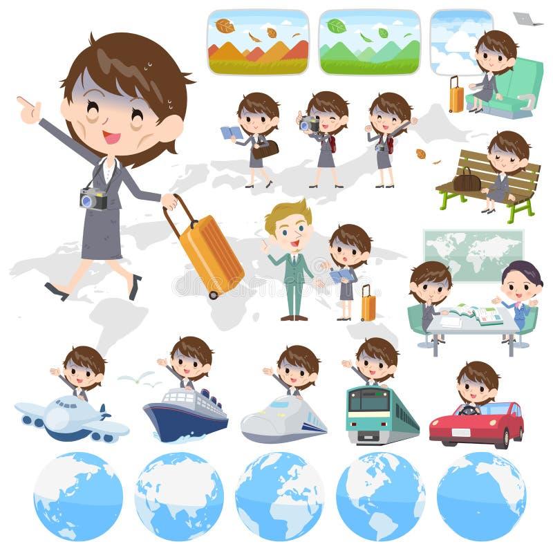 Condition_travel gris del malo de las mujeres de negocios del traje stock de ilustración