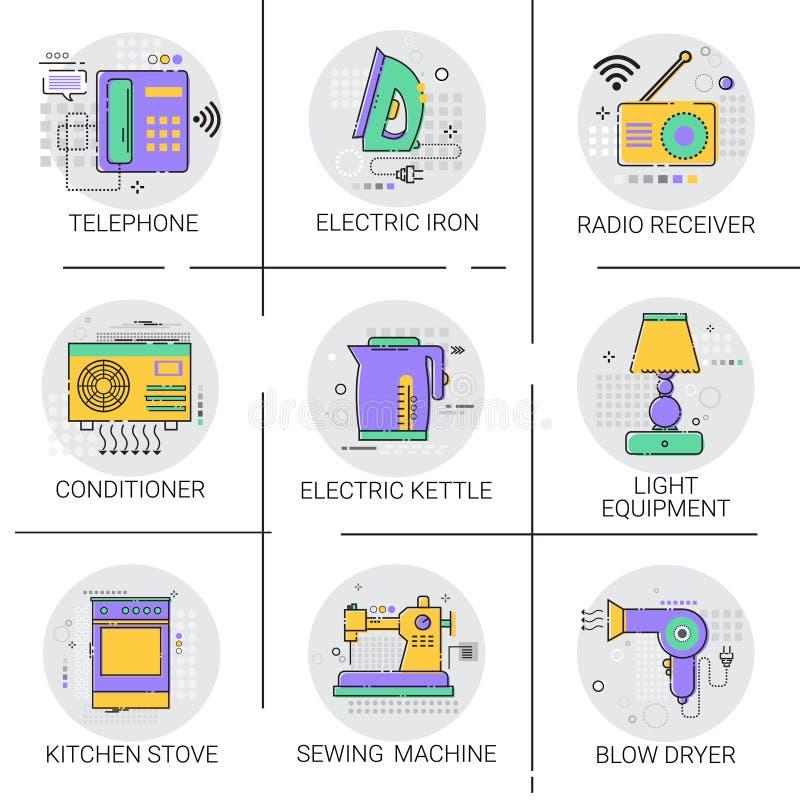 Conditioner gospodarstwa domowego domu Grzejnej ikony przyrządów Housekeeping Kuchenna kolekcja ilustracji