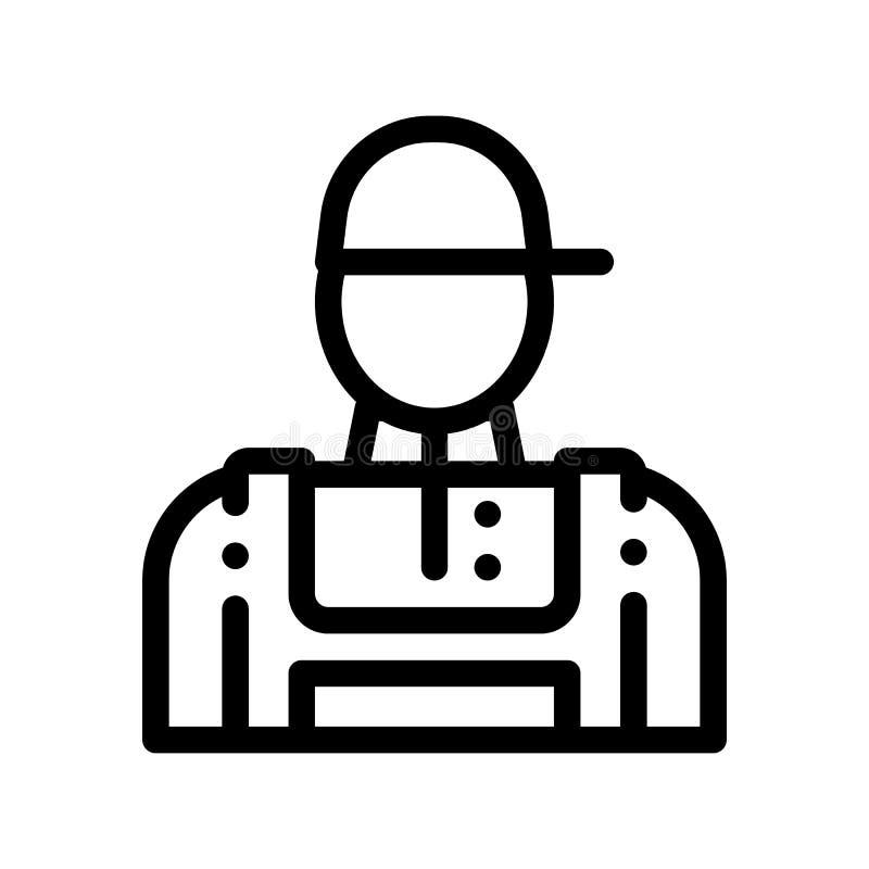 Conditioner Repairman pracownika wektoru Cienka Kreskowa ikona ilustracji