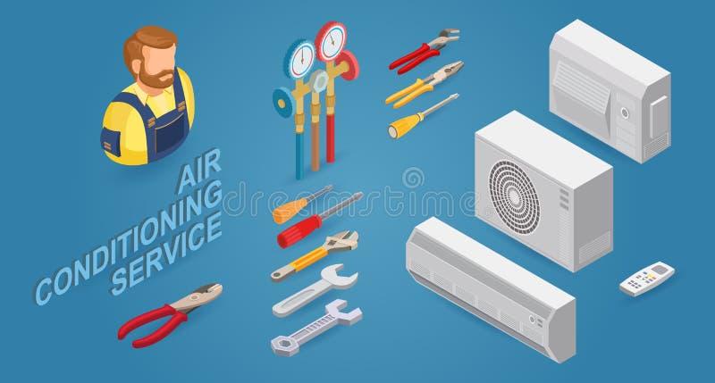 Conditioner service. Builder, instrument, equipment. Vector flat 3d illustration. vector illustration