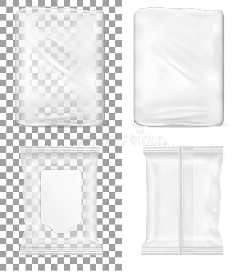 Conditionnement en plastique vide transparent et paquet humide de chiffons avec l'aileron pour le papier hygiénique et des cosmét illustration de vecteur