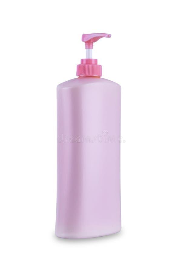Conditionneur cosmétique d'hygiène de bouteille en plastique de corps de la pompe de tête de distributeur de rose avec hydrater d photos libres de droits