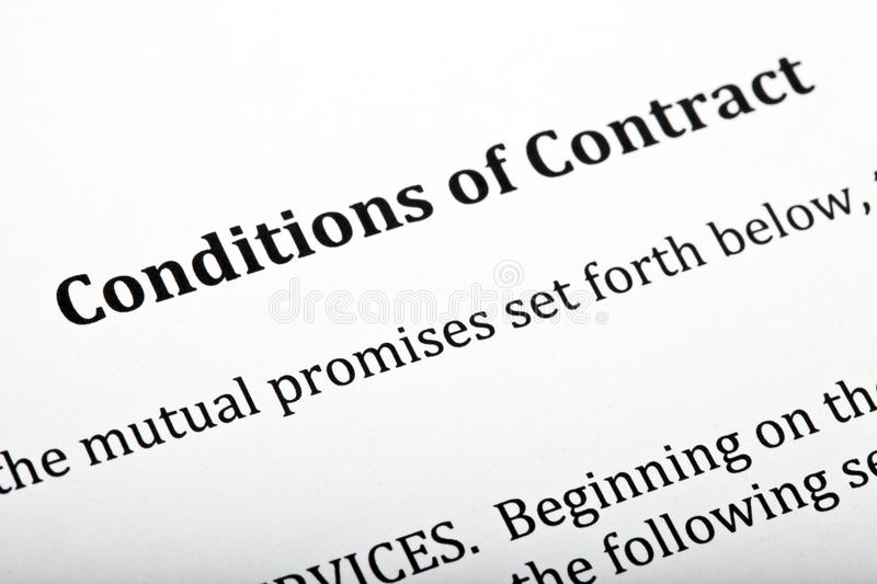 Conditions of Contract Letter. A close up of a 'Conditions of Contract' letter royalty free stock photography