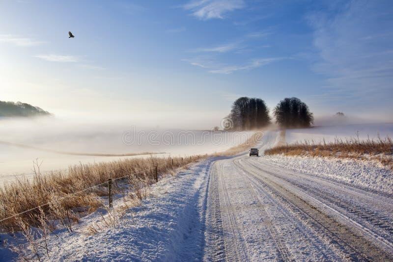 Conditions de conduite de l'hiver - Angleterre photographie stock libre de droits