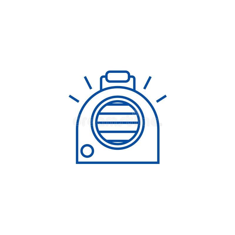 Condizionamento d'aria, linea portatile concetto del radiatore dell'icona Condizionamento d'aria, simbolo piano di vettore del ra illustrazione di stock
