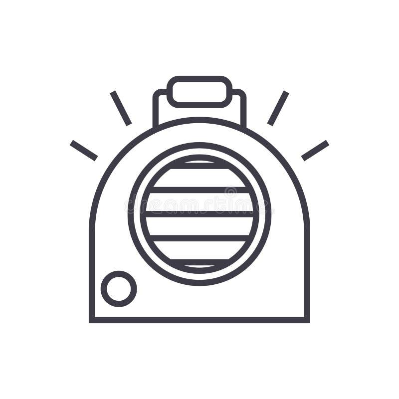Condizionamento d'aria, linea portatile icona, segno, illustrazione di vettore del radiatore su fondo, colpi editabili illustrazione di stock