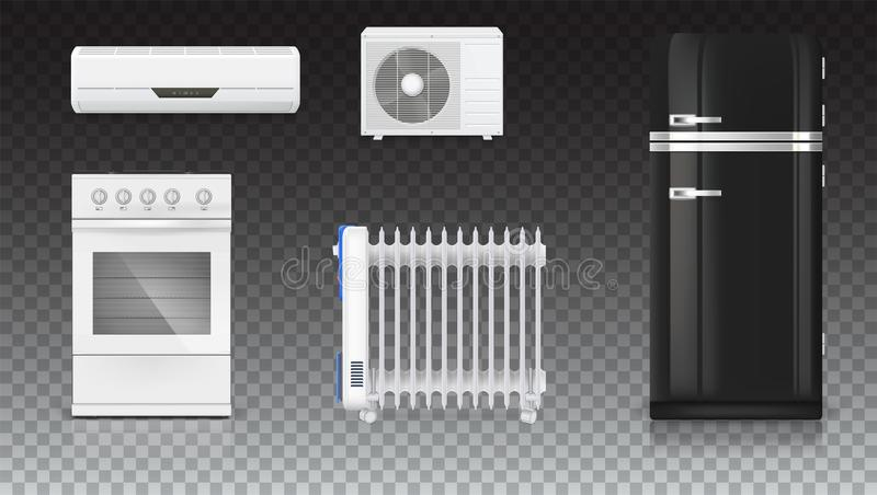 Condizionamento d'aria, radiatore elettrico dell'olio, frigorifero con retro progettazione, stufa di gas Apparecchi elettrici dom illustrazione vettoriale
