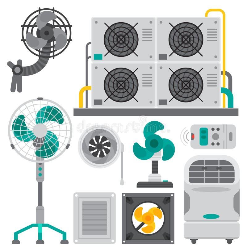 Condizionamento del ventilatore dell'attrezzatura di sistemi della sacca d'aria del condizionatore d'aria illustrazione vettoriale