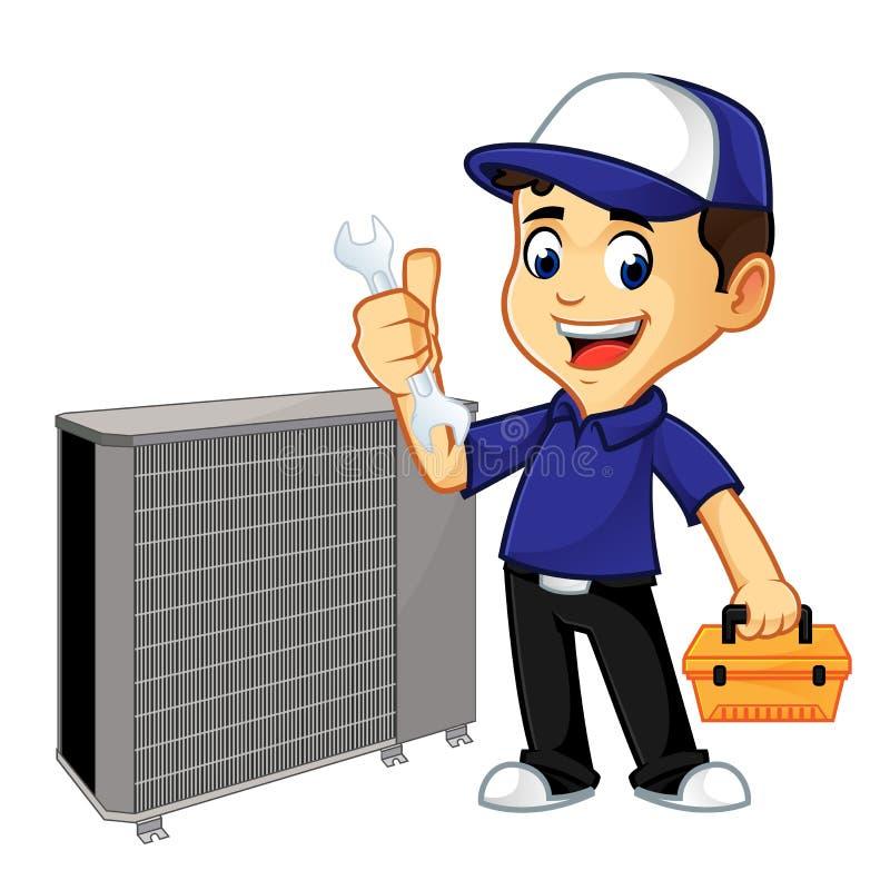 Condizionatore d'aria della riparazione del pulitore o del tecnico di HVAC illustrazione di stock