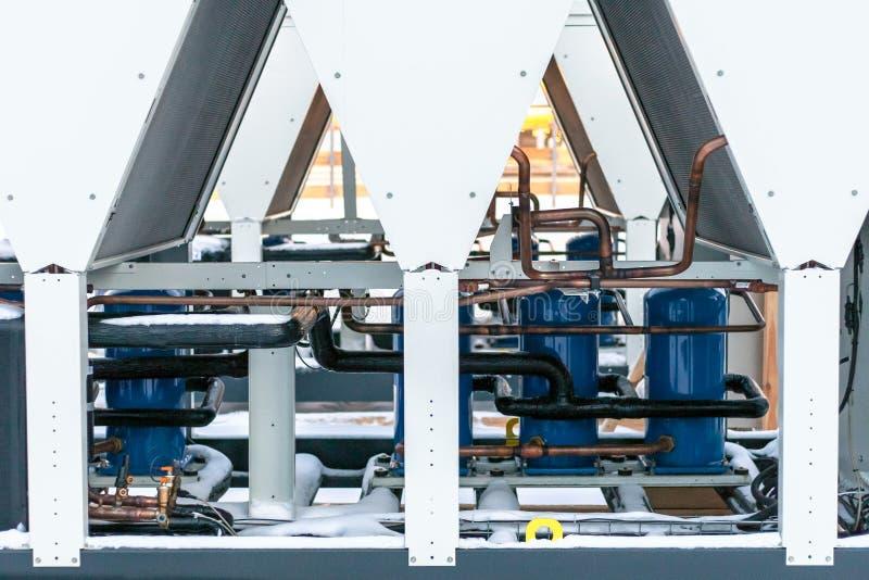Condizionatore d'aria industriale sistema di raffreddamento dell'unità all'aperto fotografia stock libera da diritti
