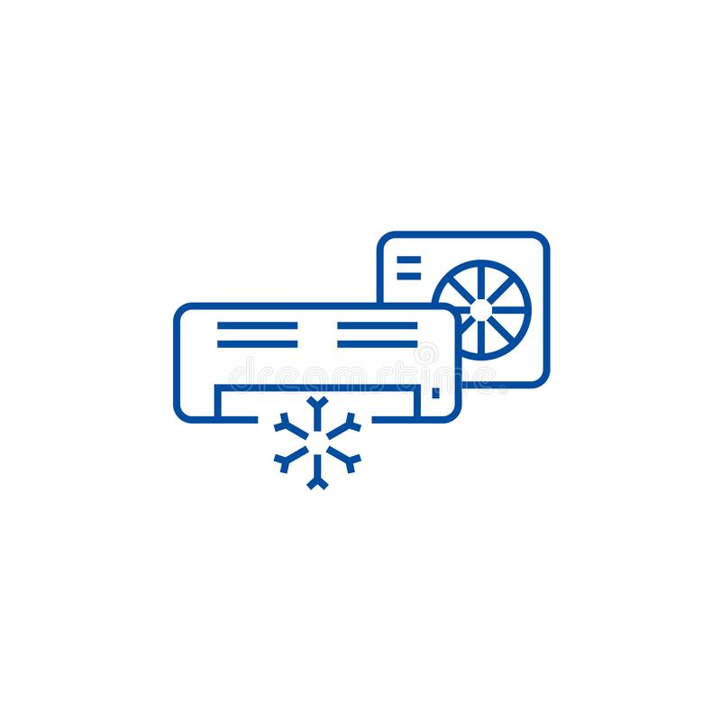 Condizionatore d'aria, linea spaccata concetto del sistema dell'icona Condizionatore d'aria, simbolo piano di vettore del sistema illustrazione vettoriale
