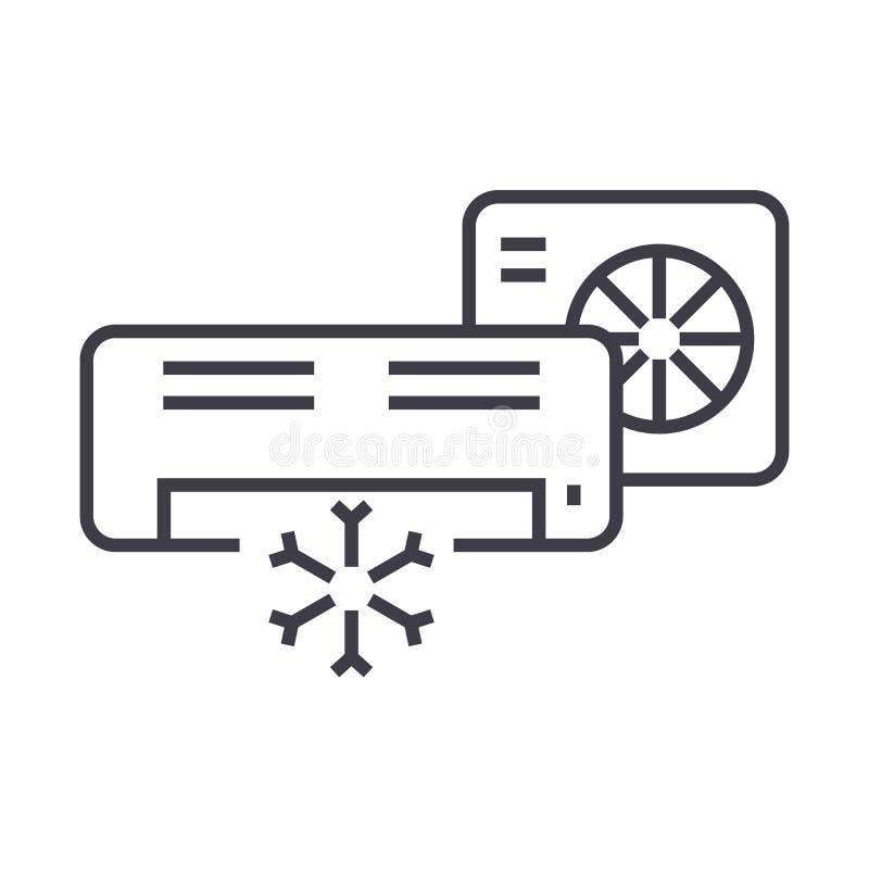Condizionatore d'aria, linea spaccata icona, segno, illustrazione di vettore del sistema su fondo, colpi editabili royalty illustrazione gratis