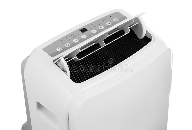 Condizionatore d'aria o deumidificatore portatile isolato su fondo bianco fotografia stock