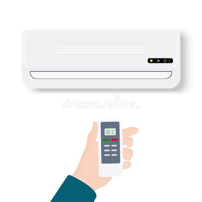 Condizionatore d'aria spaccato del sistema Condizionatore realistico con il telecomando della tenuta della mano Illustrazione di  illustrazione vettoriale