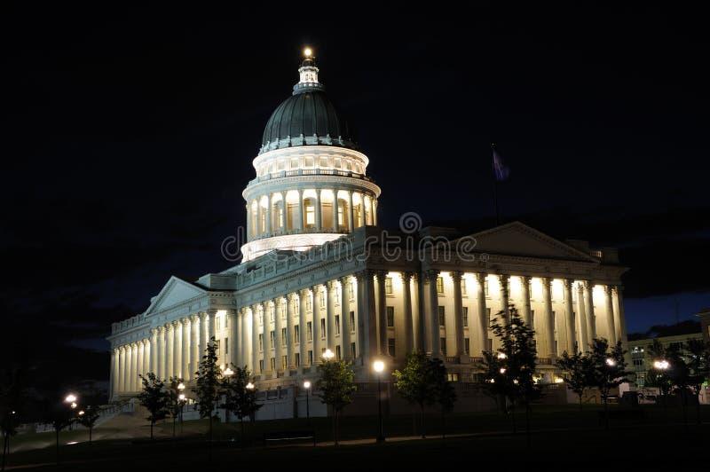 Condizione Campidoglio dell'Utah alla notte fotografia stock