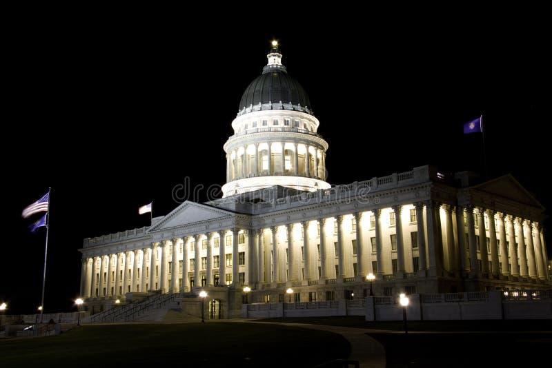 Condizione Campidoglio dell'Utah alla notte immagini stock libere da diritti