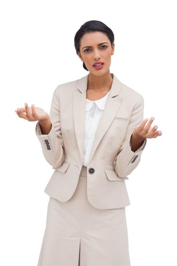 Condizione confusa della donna di affari immagini stock