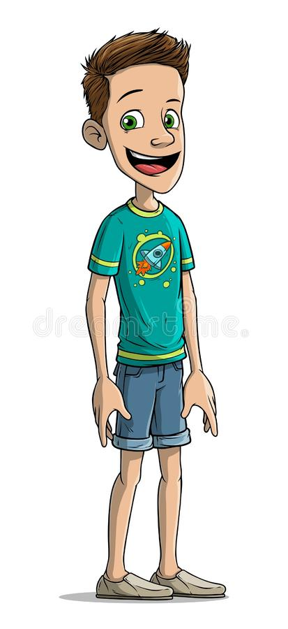 Condizione del fumetto e vettore sorridente del carattere del ragazzo illustrazione di stock