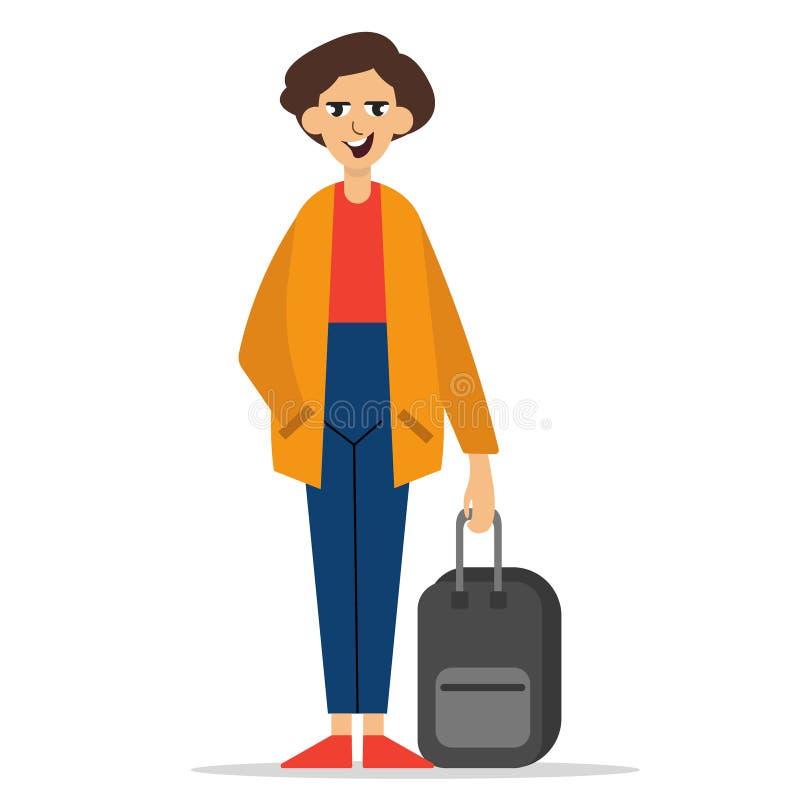 Condizione del giovane con la valigia illustrazione di stock