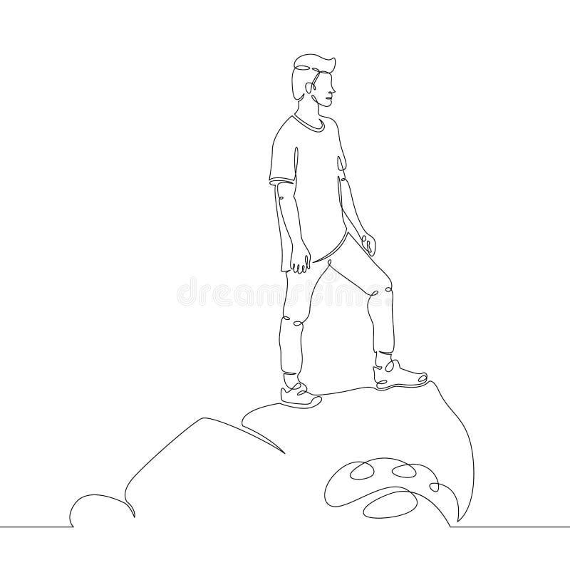 Condizione del giovane su una roccia nelle onde del mare illustrazione di stock