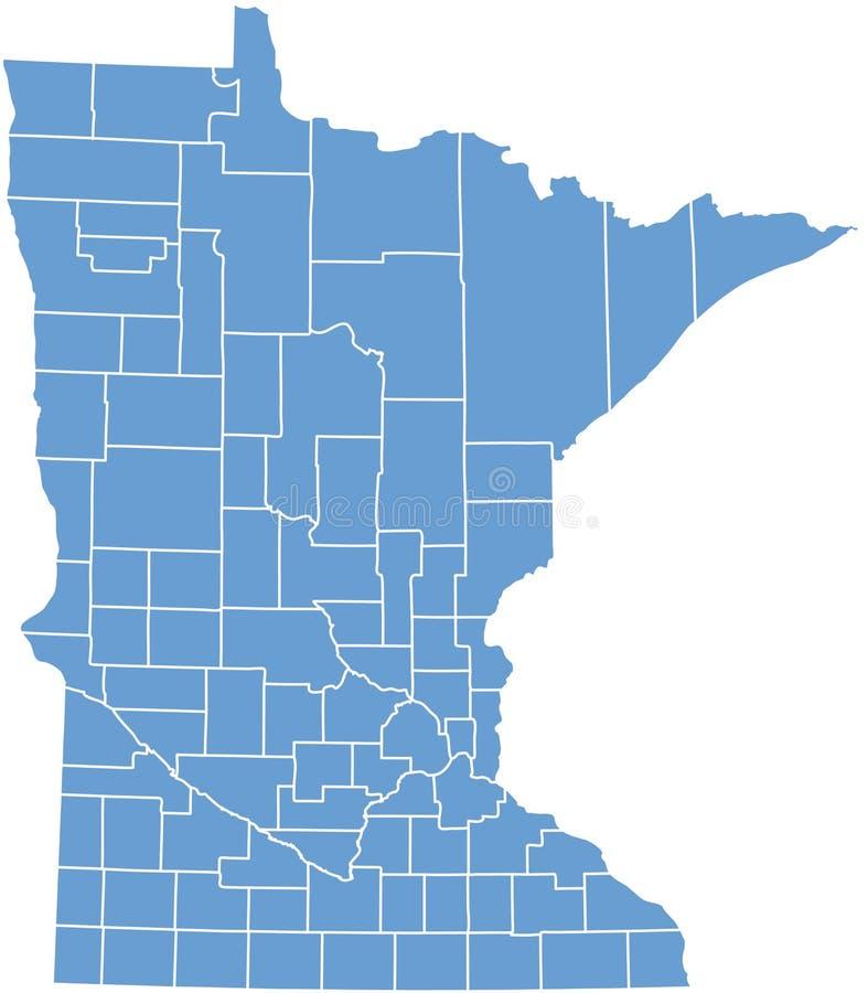 Condizione del Minnesota dalle contee illustrazione di stock