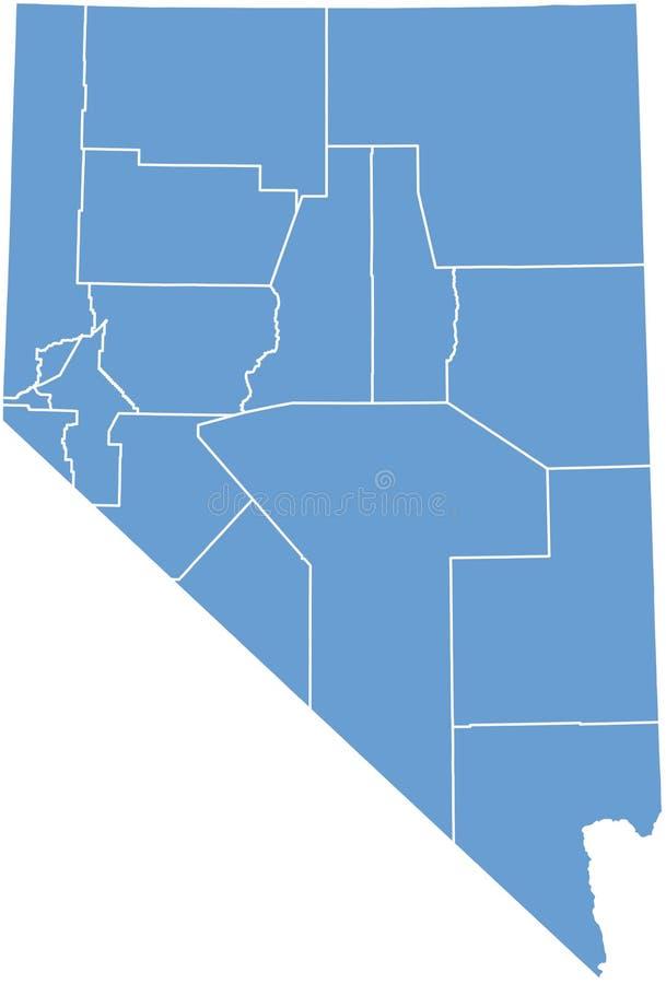 Condizione del Nevada dalle contee illustrazione vettoriale