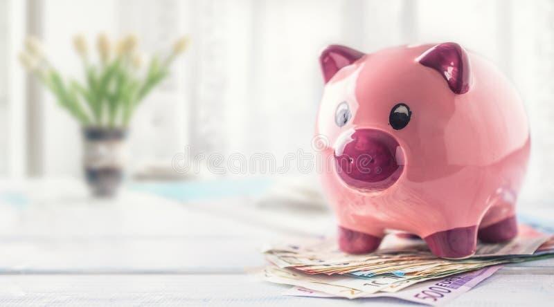 Condizione del porcellino salvadanaio sulle euro banconote sulla tavola nell'interno della famiglia Il concetto di assicurazione  immagini stock libere da diritti
