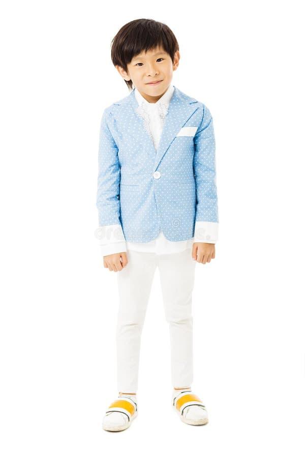 condizione del ragazzino ed isolato su bianco fotografia stock libera da diritti
