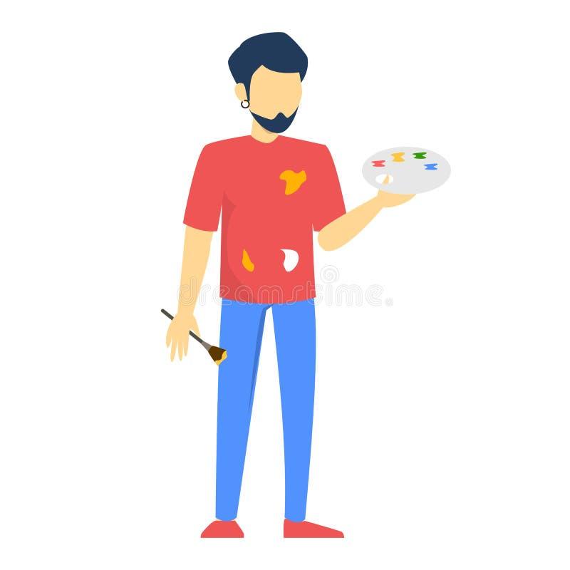 Condizione dell'artista dell'uomo e tenere lo strumento di disegno illustrazione di stock