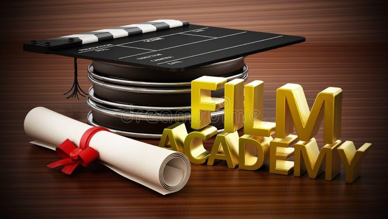Condizione dell'assicella sulle strisce di pellicola come un tocco Testo e diploma dell'accademia del film illustrazione 3D illustrazione di stock