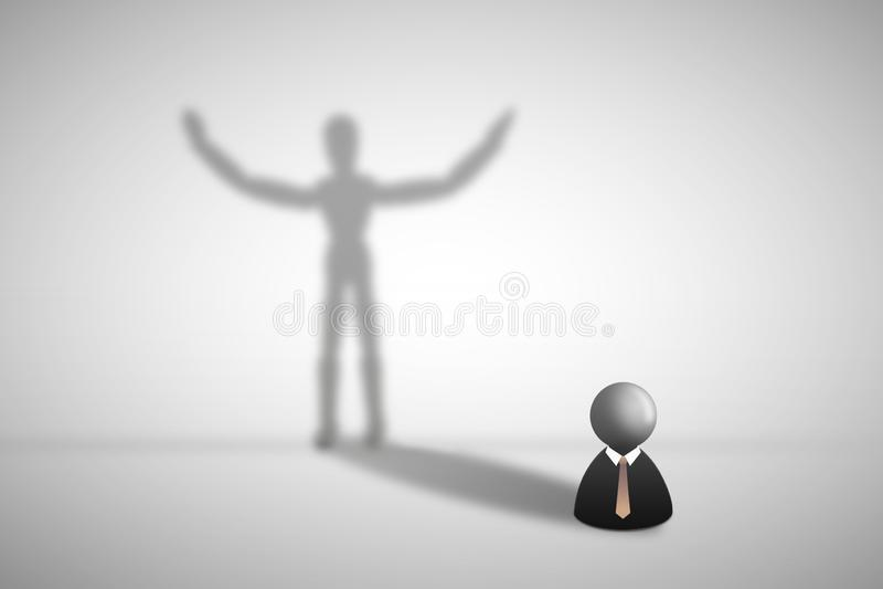 Condizione dell'icona dell'uomo d'affari sull'ombreggiatura grigia dell'ombra e del pavimento sulla parete nella forma umana illustrazione vettoriale