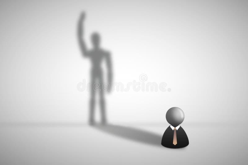 Condizione dell'icona dell'uomo d'affari sull'ombreggiatura grigia dell'ombra e del pavimento sulla parete nella forma umana illustrazione di stock