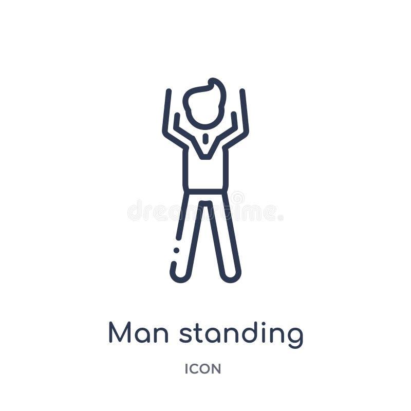 condizione dell'uomo con le armi sull'icona dalla raccolta del profilo della gente Linea sottile condizione dell'uomo con le armi illustrazione vettoriale