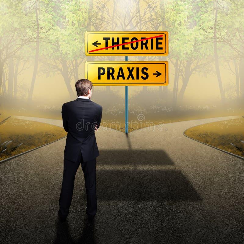 """Condizione dell'uomo d'affari ad una strada trasversale con i segnali stradali """"teoria """"e """"praxis """"in tedesco immagini stock libere da diritti"""