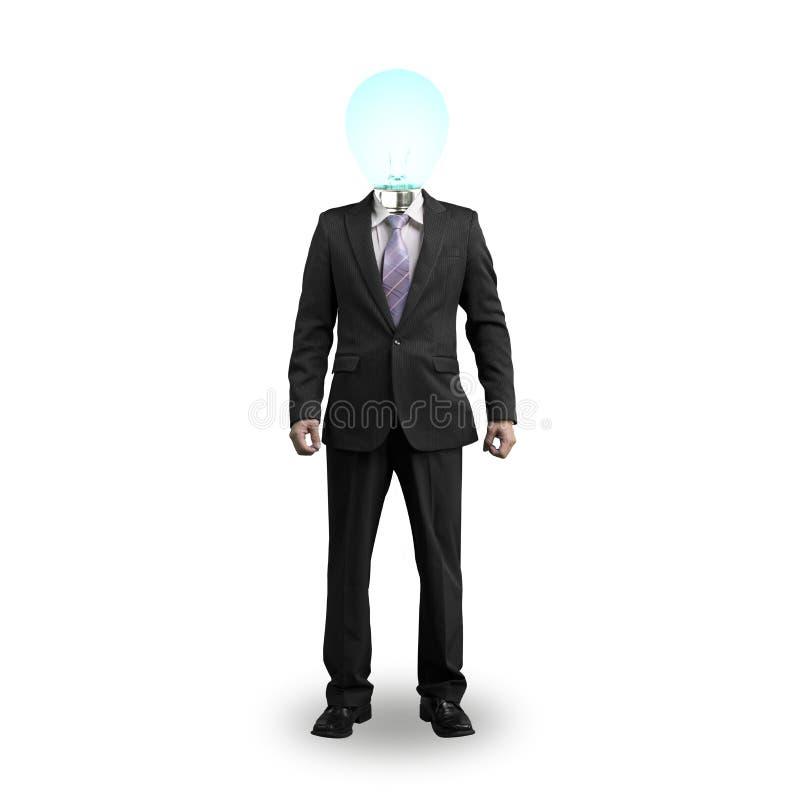 Condizione dell'uomo d'affari della testa della lampadina ed isolato nel bianco fotografie stock