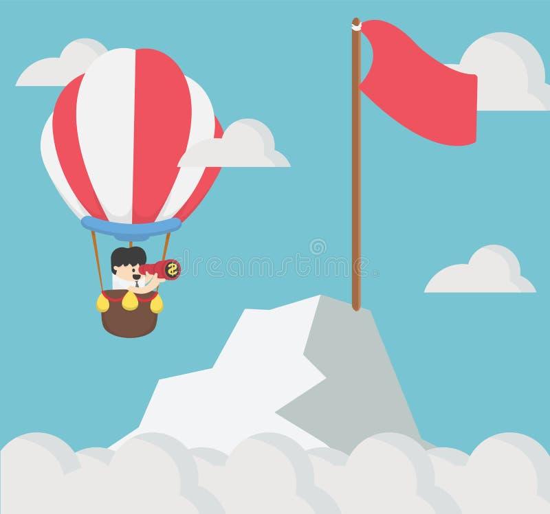 Condizione dell'uomo d'affari nel rosso del pallone che tiene bandiera e montagna di sguardo binoculari royalty illustrazione gratis