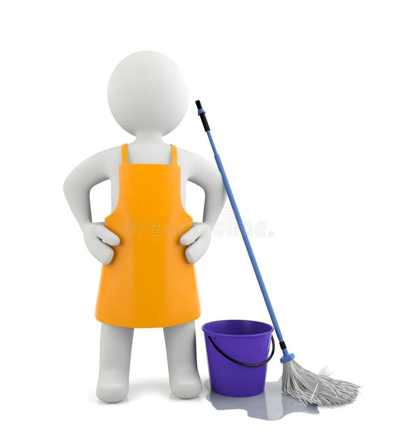 condizione dell'uomo del pulitore 3d illustrazione vettoriale