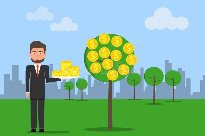 Condizione dell'uomo mentre prendendo una moneta del dollaro dall'albero dei soldi Concetto di crescita di soldi Simboli di dolla royalty illustrazione gratis