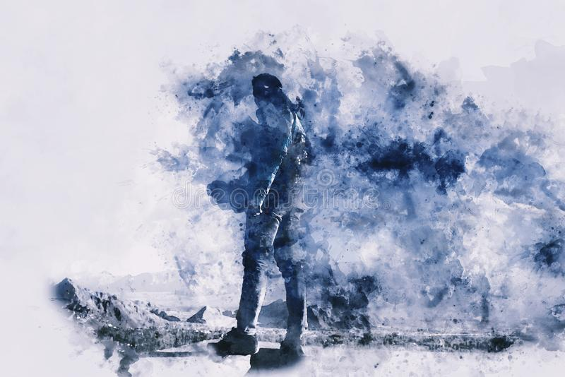 Condizione dell'uomo sulla roccia con lo zaino e la spruzzata di inchiostro su fondo bianco royalty illustrazione gratis