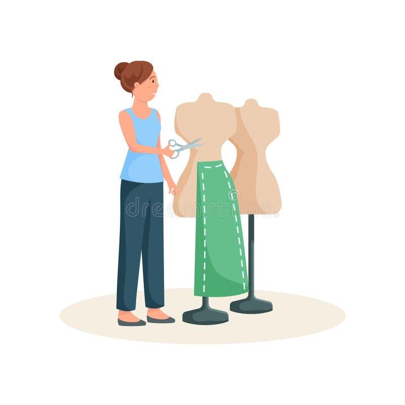 Condizione della cucitrice vicino al manichino nel modello verde della gonna con le forbici in mani royalty illustrazione gratis